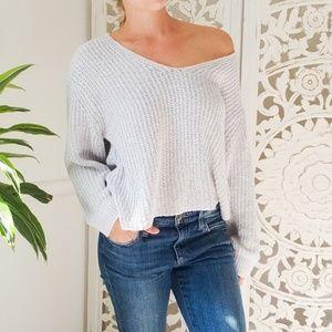 Express Oversized Knit V-Neck Sweater Light Gray